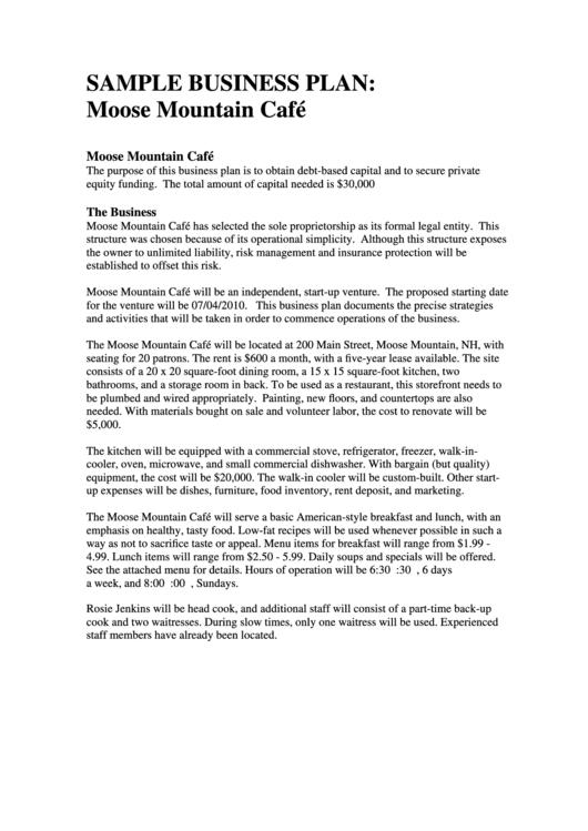 Sample Moose Mountain Cafe Business Plan