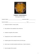 Parent Conference Planning And Note Sheet Template