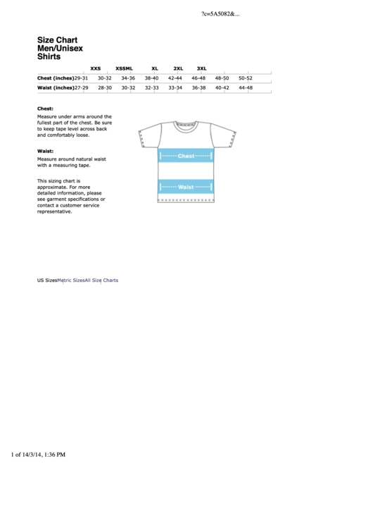 American Apparel Men/unisex Shirts Size Chart - 2014