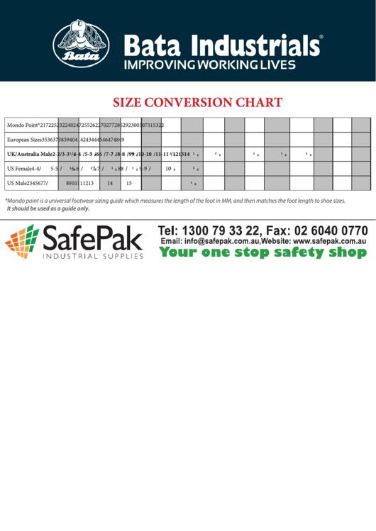 Bata Industrials Size Conversion Chart