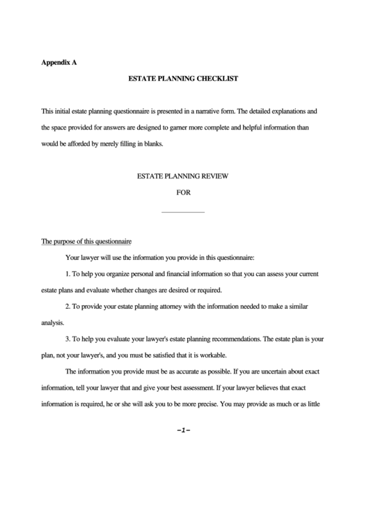 Fillable Estate Planning Checklist Template Printable pdf