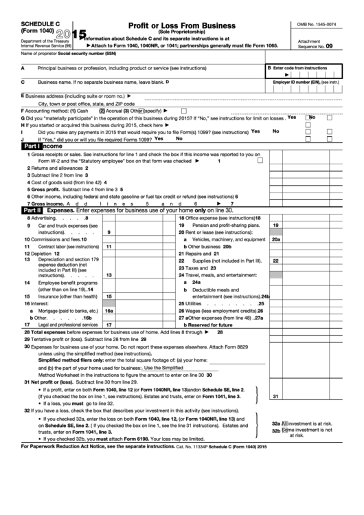 Top 21 Form 1040 Schedule C Templates Free To Download In Pdf Format