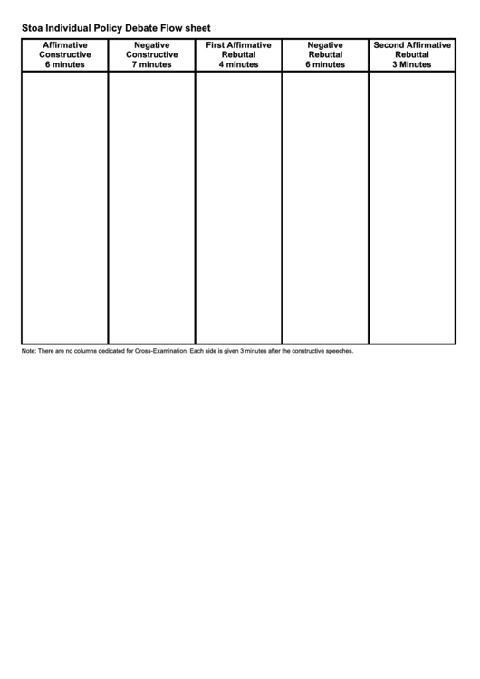 Stoa Individual Policy Debate Flow Sheet  Flow Sheet Templates