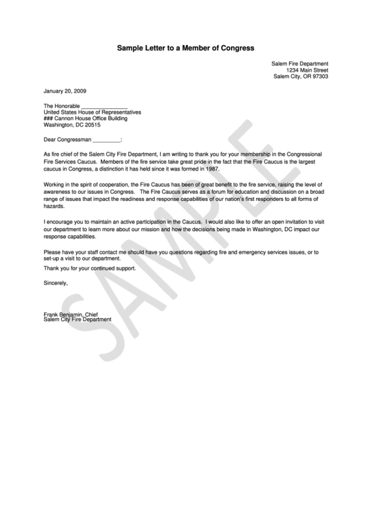 Sample Letter To A Member Of Congress Printable Pdf Download