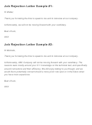 Sample Job Rejection Letter Template