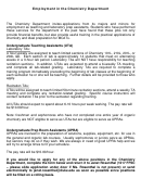 Application Form For Employment In The Chemistry Department