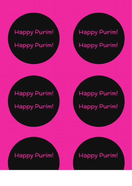 Pink And Black Purim Labels
