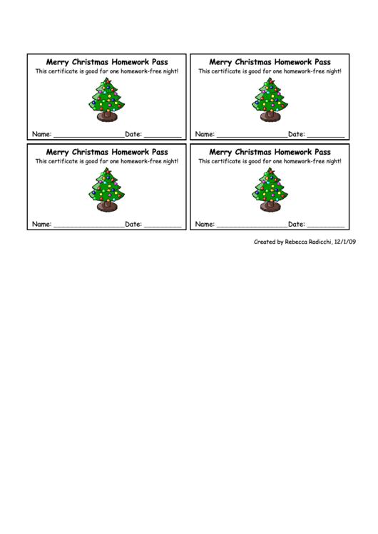 Christmas Homework Pass Template