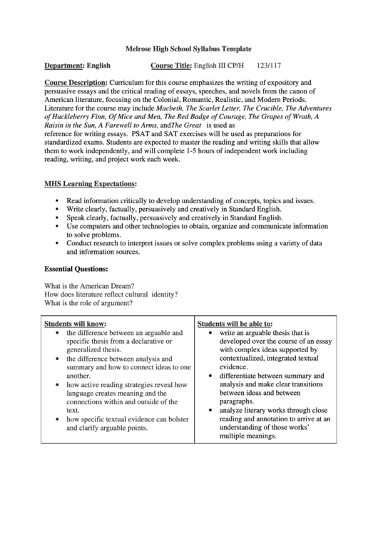 High School Syllabus Template Printable pdf