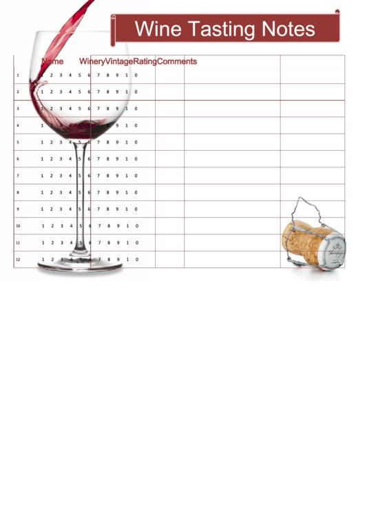 Wine Tasting Notes Template Printable pdf