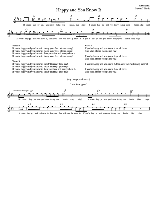 if you re happy and you know it coloring page - if you re happy and you know it sheet music printable pdf