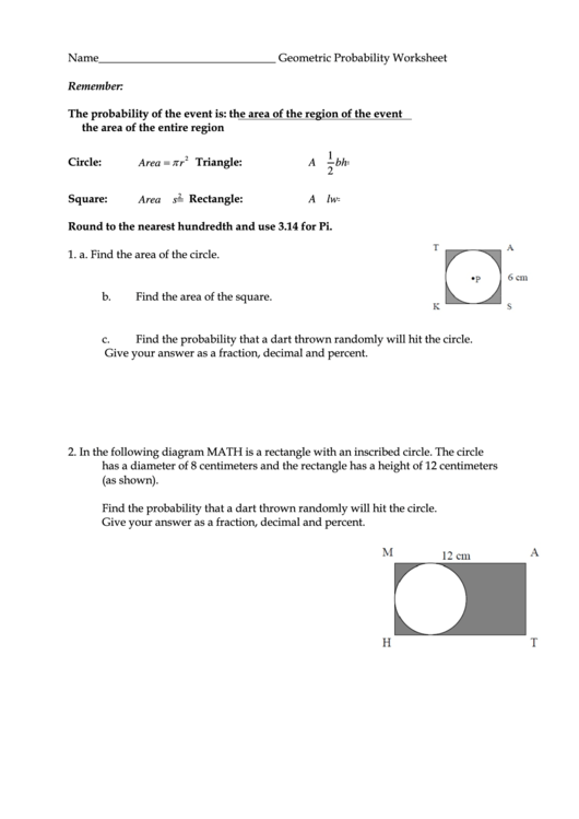Geometric Probability Worksheet Printable Pdf Download