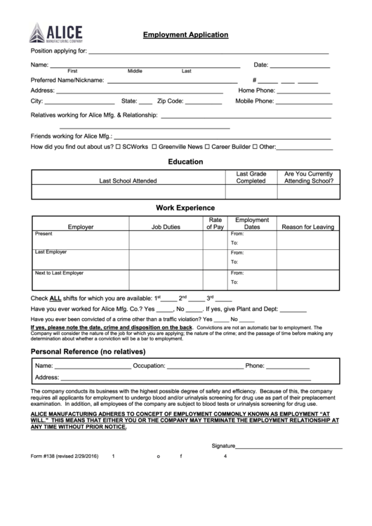 Form 138 - Employment Application