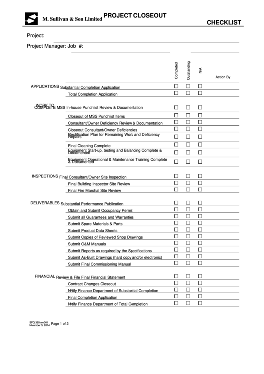 Project Closeout Checklist printable pdf download