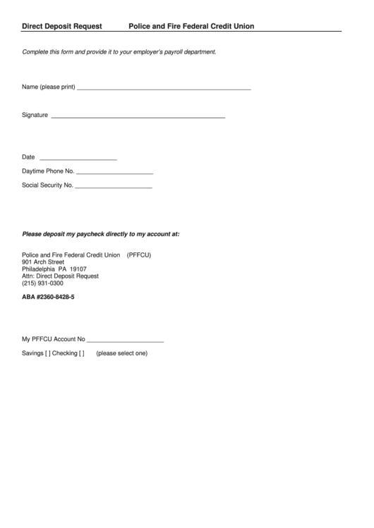 Direct Deposit Request Printable pdf