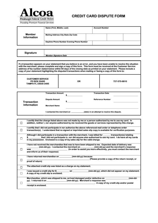 fillable credit card dispute form printable pdf download