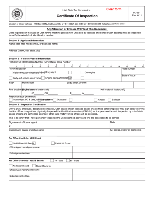 Fillable form tc 661 certificate of inspection printable for Oklahoma tax commission motor vehicle division phone number