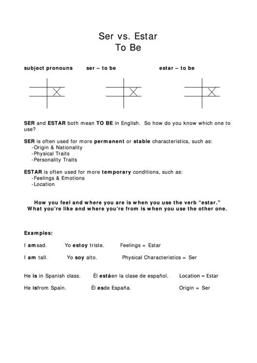 Ser Vs Estar Worksheet Printable Pdf Download
