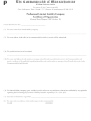 Professional Limited Liability Company Certificate Form Of Organization - The Commonwealth Of Massachusetts