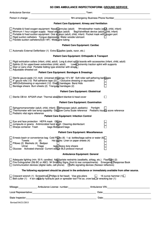 Sd Ems Ambulance Inspection Form: Ground Service