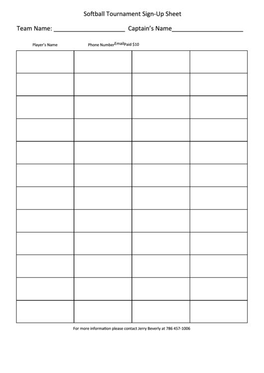 Softball Tournament Sign-up Sheet