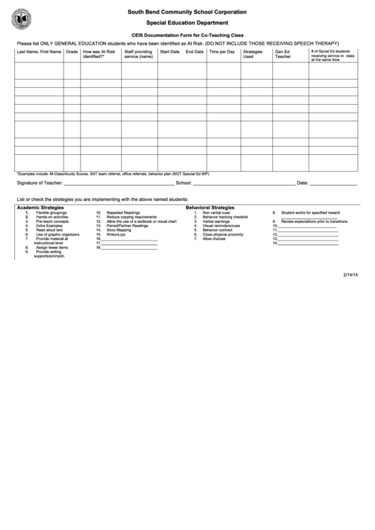 Ceis Documentation Form For Co-teaching Class
