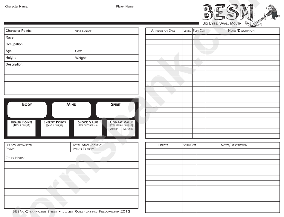 Fillable Besm Character Sheet Printable Pdf Download