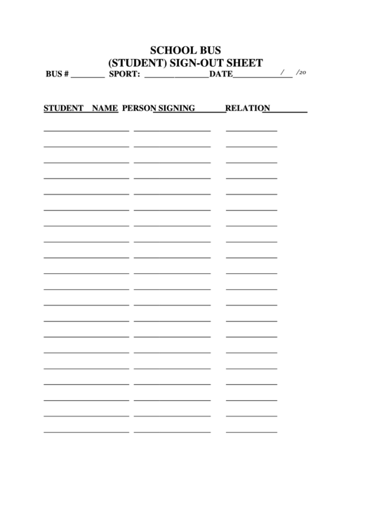 Fillable School Bus (Student) Sign-Out Sheet Printable pdf