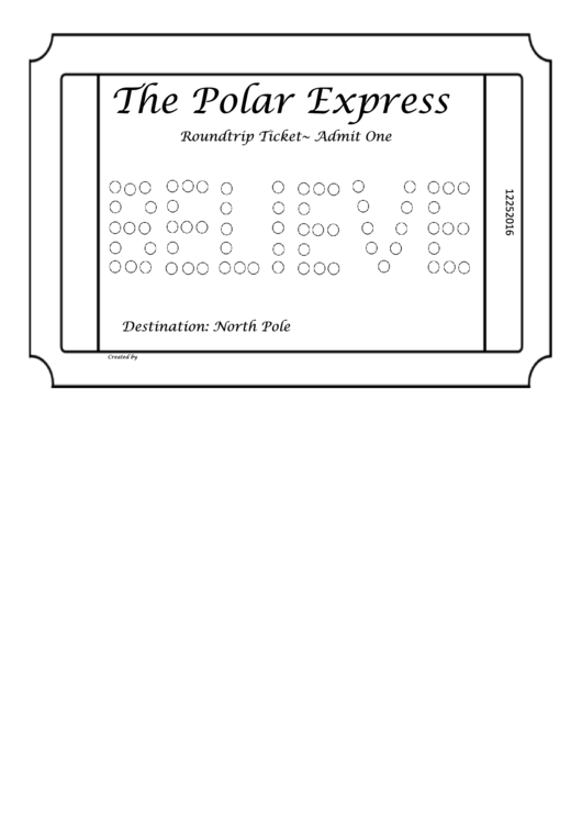 ticket coloring pages | Polar Express Ticket Coloring Sheet printable pdf download