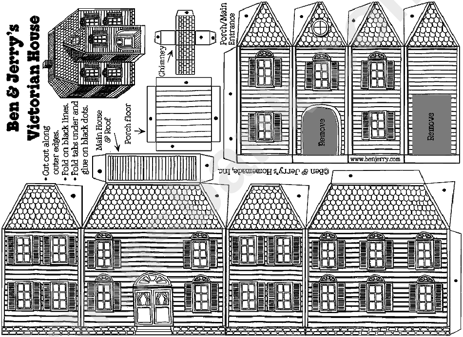 victorian gingerbread house template printable pdf download