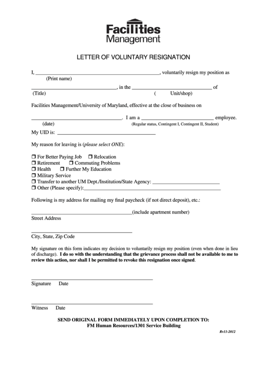 Sample Letter Of Voluntary Resignation Printable pdf