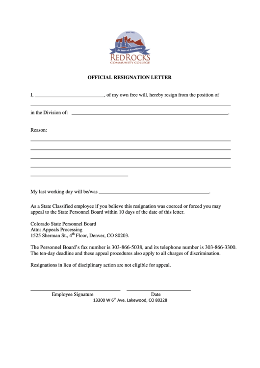 Sample Official Resignation Letter Template Printable pdf