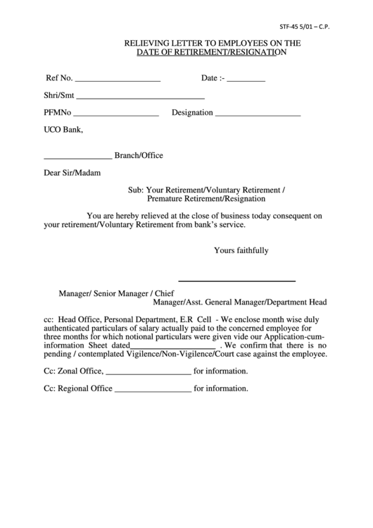 Relieving Letter To Employees On The Date Of Retirement/resignation Printable pdf