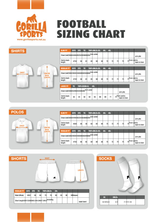 Gorilla Sports Football Clothes Sizing Chart
