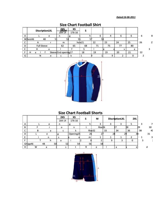 Yakima Football Uniform Size Chart