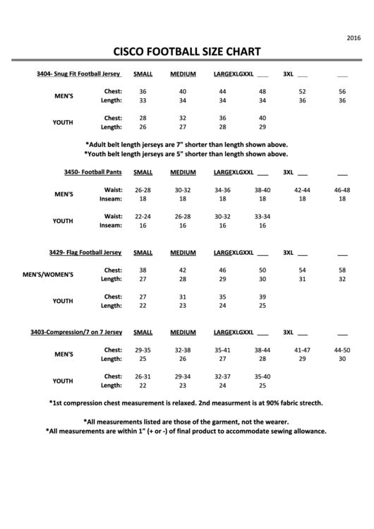 Cisco Football Jersey/pants Size Chart
