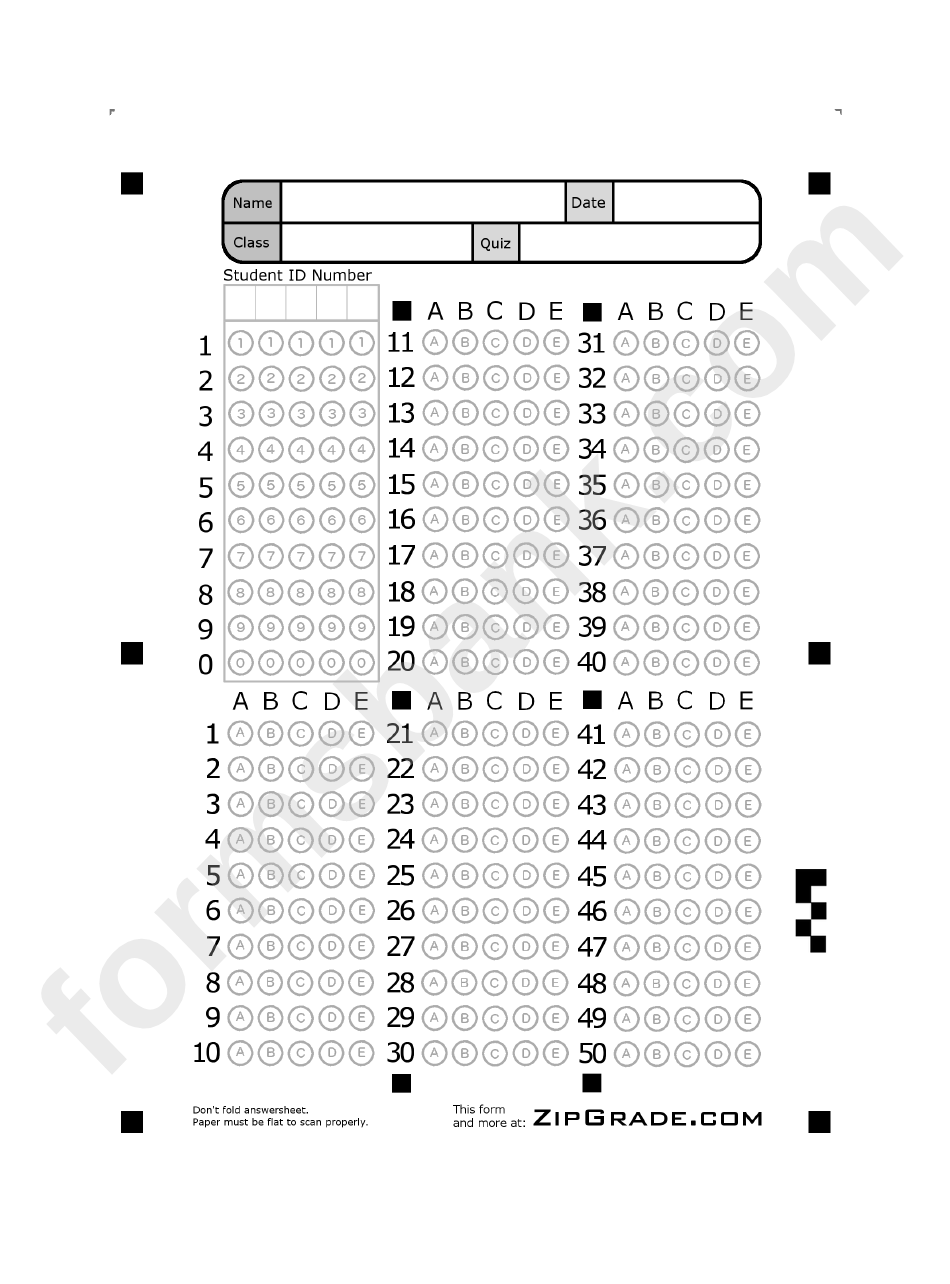 Answer Sheet Template 1 50 Printable Pdf Download