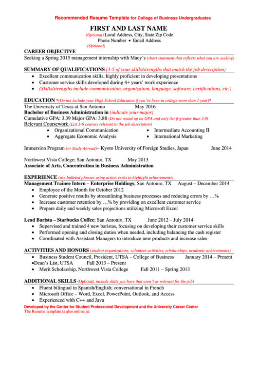 Recommended Resume Template For College Of Business Undergraduates Printable pdf