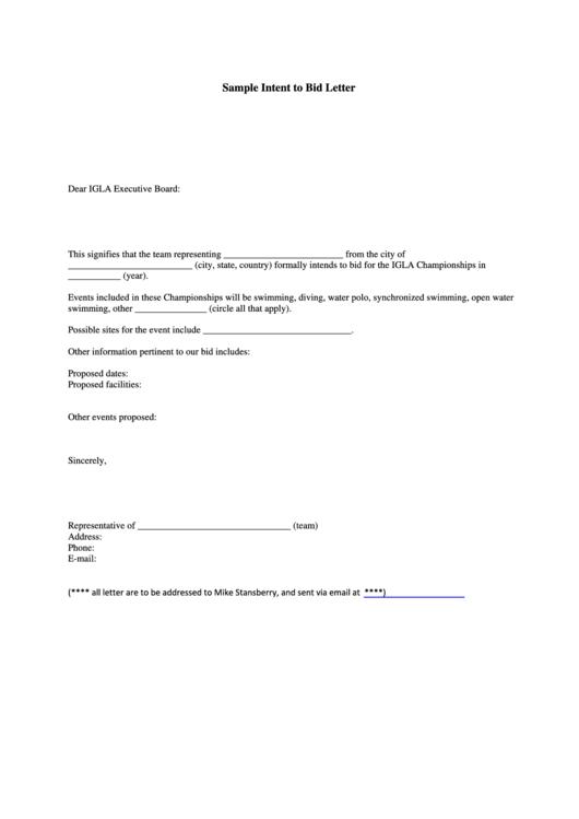 Sample Intent To Bid Letter
