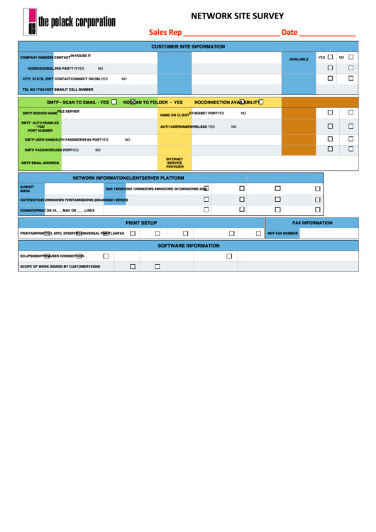 Fillable Network Site Survey Template Printable Pdf Download