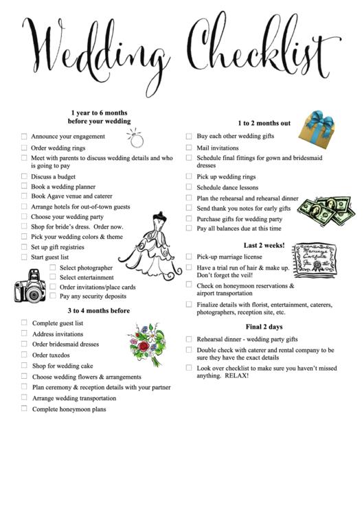 Wedding Checklist 1 Year Before Your Wedding Printable