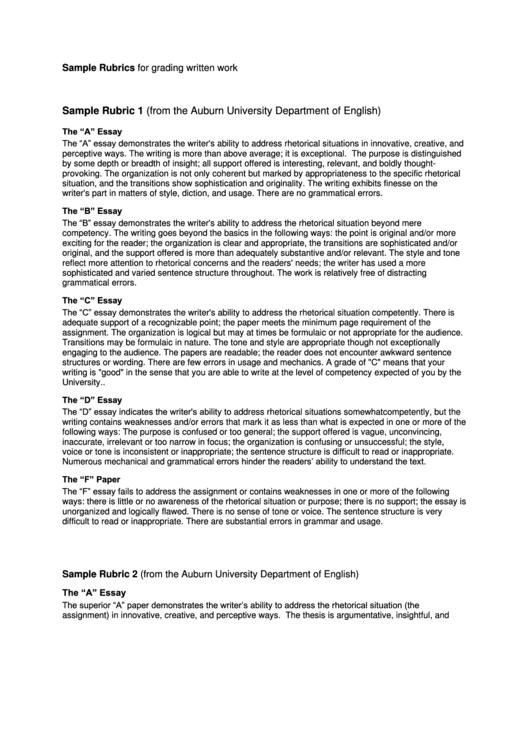 Sample Rubrics For Grading Written Work