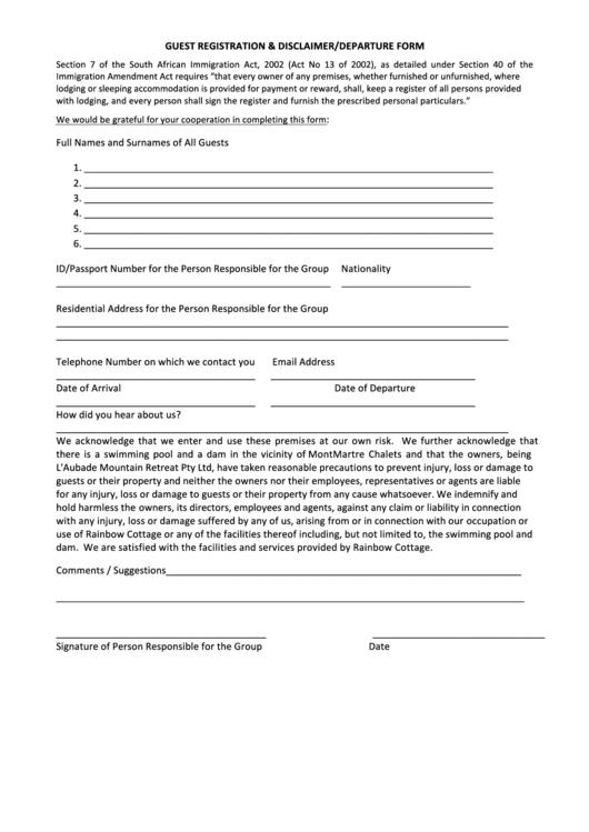 Guest Registration And Disclaimer Departure Form