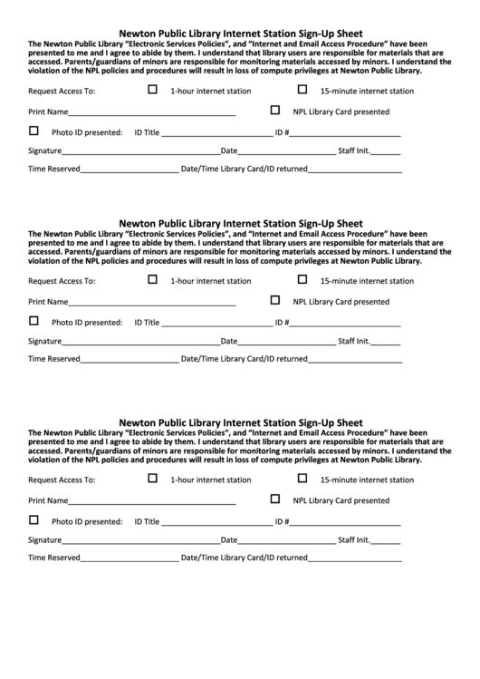 Newton Public Library Internet Station Sign-up Sheet