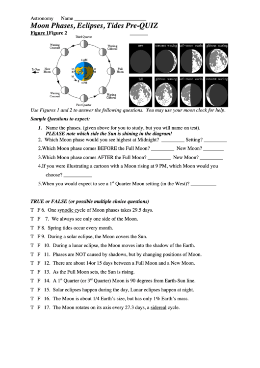 moon phases eclipses tides pre quiz science worksheets printable pdf download. Black Bedroom Furniture Sets. Home Design Ideas