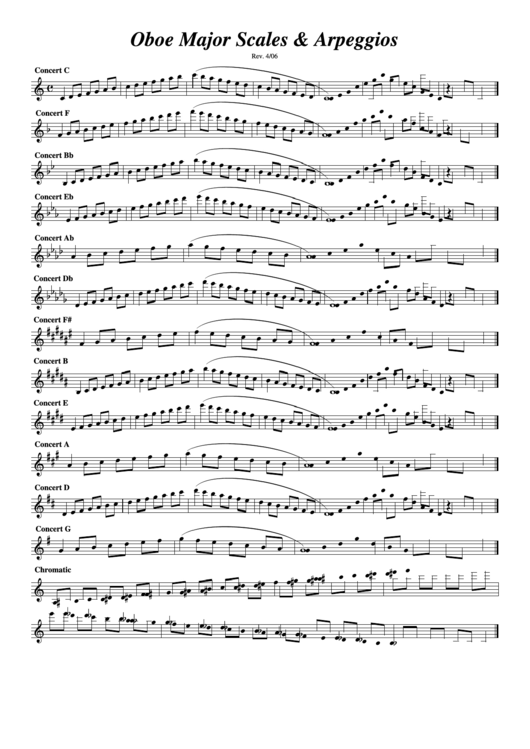 Oboe Major Scales Amp Arpeggios Oboe Sheet Music Printable