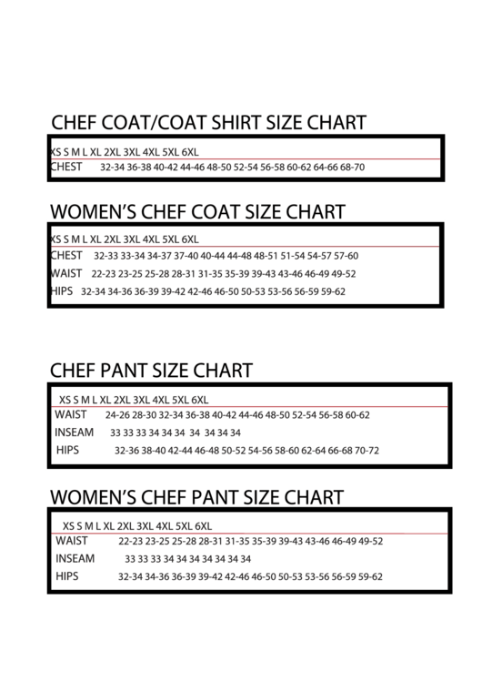 Uniform Usa Chef Coat/coat Shirt Size Chart