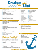 Cruise Trip Packing List Template - Yellow/blue