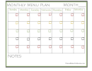 Monthly Menu Plan Template