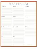 Shopping List Spreadsheet
